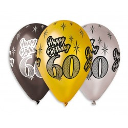 "Balony Premium ""Happy Birthday 60"" 30cm 6szt"