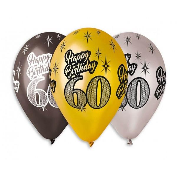 """Balony Premium """"Happy Birthday 60""""30cm 6 szt"""
