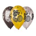 """Balony Premium """"Happy Birthday 60"""" 30cm 6szt"""
