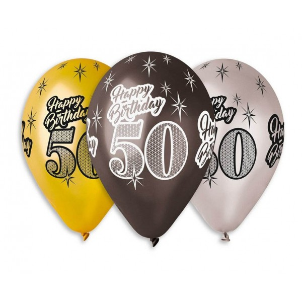 "Balony Premium ""Happy Birthday 50""30cm 6 szt"