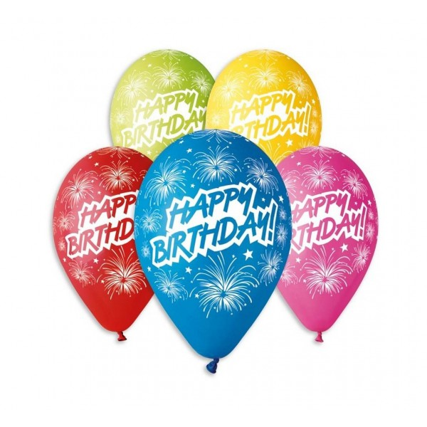 Balony pastelowe Happy Birthday 30cm 5szt