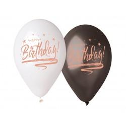 Balony Premium Happy Birthday białe i czarne 13cali 33cm 5szt