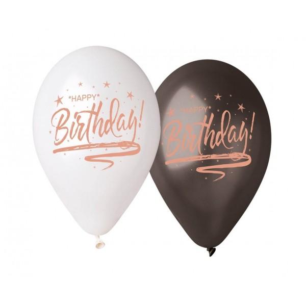 Balony Premium Happy Birthday białe i czarne 13cali 5szt