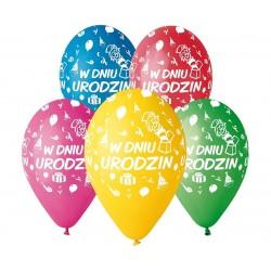 """Balony pastelowe """"W dniu urodzin"""" 13cali 5szt"""