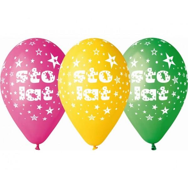 """Balony pastelowe """"Sto lat"""" 13cali 5szt"""