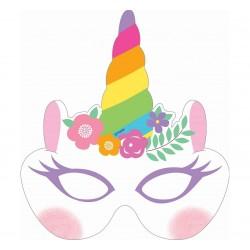 Maski papierowe Tęczowy Jednorożec 6szt