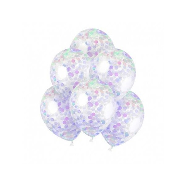 Balony transparentne z opalizującym konfetti 30cm 5szt