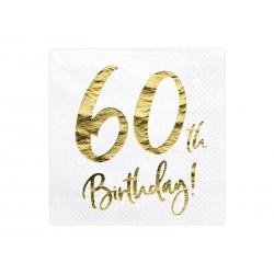 Serwetki 60 urodziny białe 33x33cm 20szt