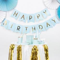 Baner Happy Birthday jasnoniebieski 15x175cm