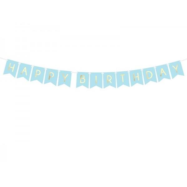Baner Happy Birthday niebieski