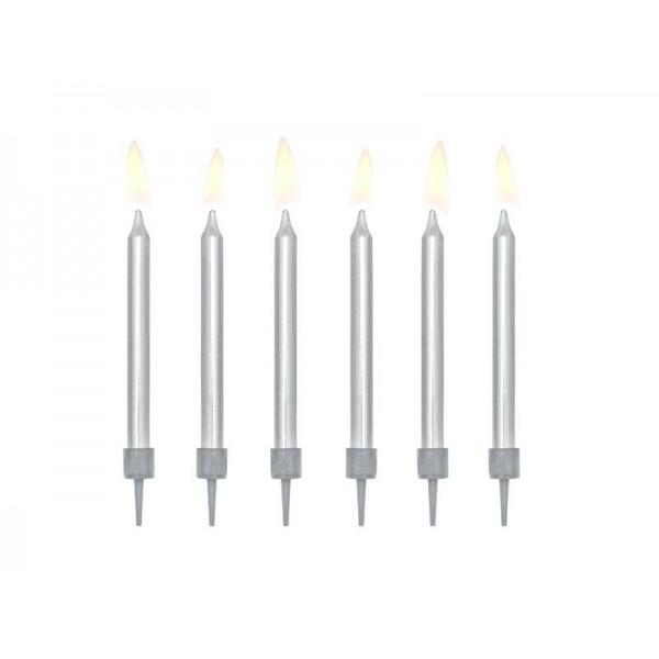 Świeczki urodzinowe srebrne 6cm 6szt