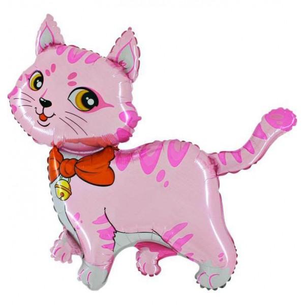 Balon foliowy kotek różowy 80x90cm