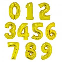 Balony Cyfry 0-9 złote 92 cm