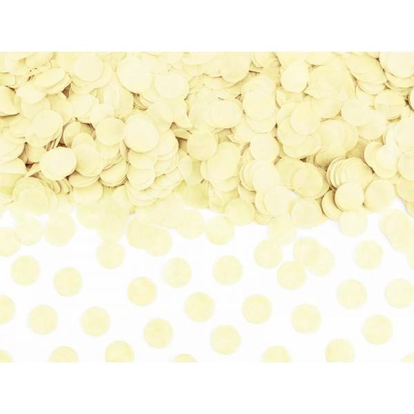 Konfetti papierowe kółka jasny kremowy 15g