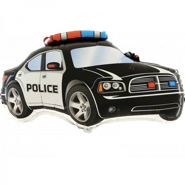 Balon foliowy Radiowóz Policyjny czarny 80x50cm