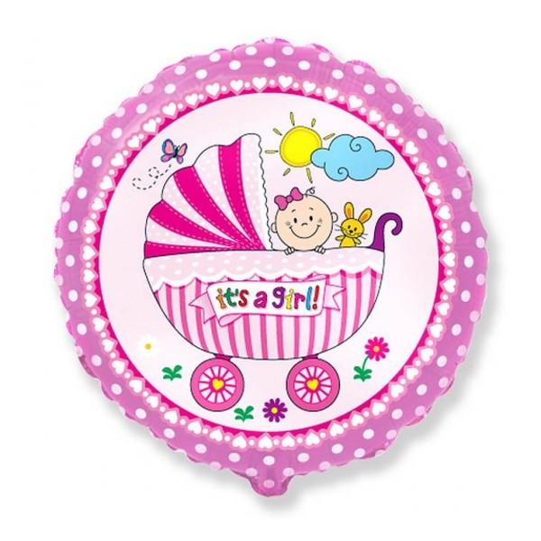 Balon foliowy It's a girl i Wózeczek różowy 46cm