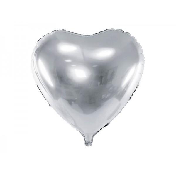 Balon foliowy serce srebrny 45cm