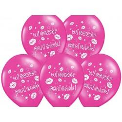 Balony metaliczne Wieczór panieński różowe 12cali 30cm 5szt Strong