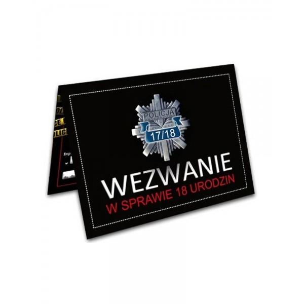 Zaproszenie na 18-stkę Wezwanie Policja czarne 1szt