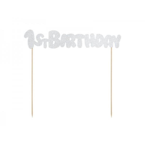 Topper na tort 1st Birthday srebrny brokatowy 19,5cm