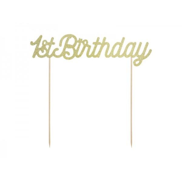 Topper na tort 1st Birthday złoty brokatowy 19,5cm