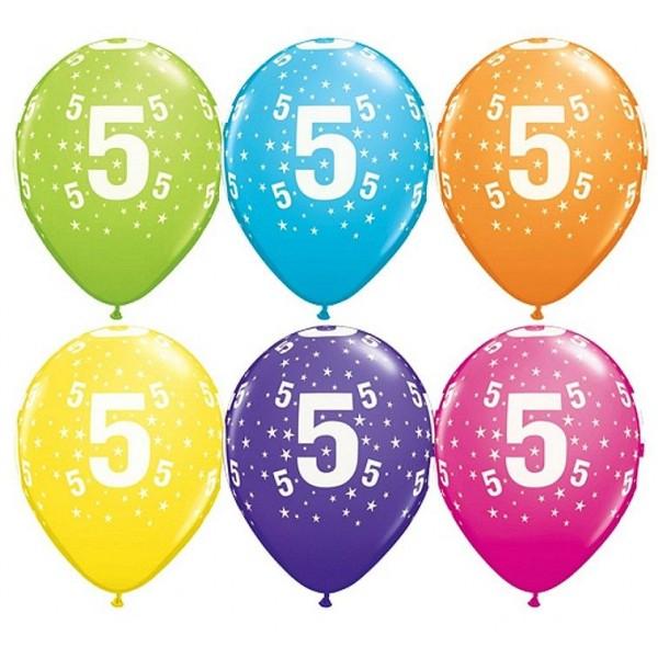 Balony pastelowe na 5 urodziny mix kolorów 11cali 28cm 6szt