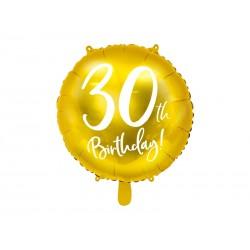 Balon foliowy 30th Birthday złoty 18cali 45cm