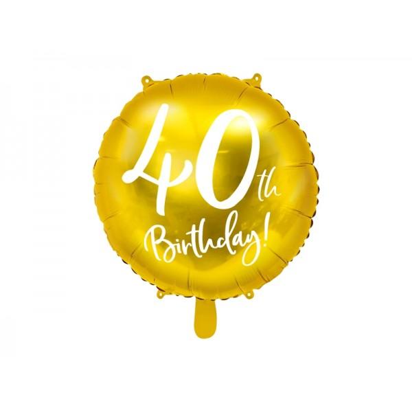 Balon foliowy 40th Birthday złoty 18cali 45cm