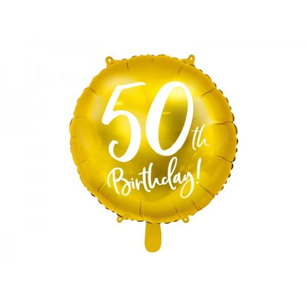 Balon foliowy 50th Birthday złoty 18cali 45cm