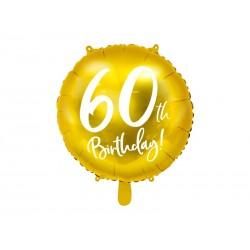 Balon foliowy 60th Birthday złoty 18cali 45cm