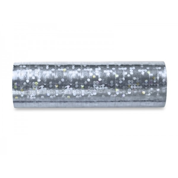 Serpentyny holograficzne srebrne 3,8m 18szt