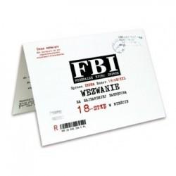 Zaproszenie na 18-stkę FBI  Wezwanie białe 1szt