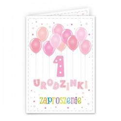 Zaproszenie na Roczek dla dziewczynki Baloniki 1szt
