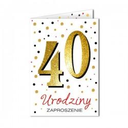Zaproszenie na 40 urodziny białe 1szt