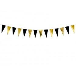 Girlanda papierowa flagietki złote i czarne 13 cm 2.15 m
