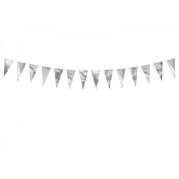 Girlanda papierowa flagietki srebrne 13cm 2.15m