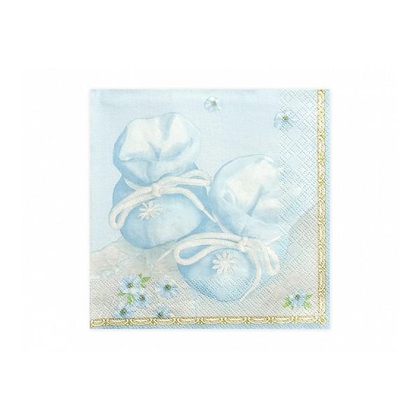 Serwetki papierowe Buciki błękitne 33x33cm 20szt
