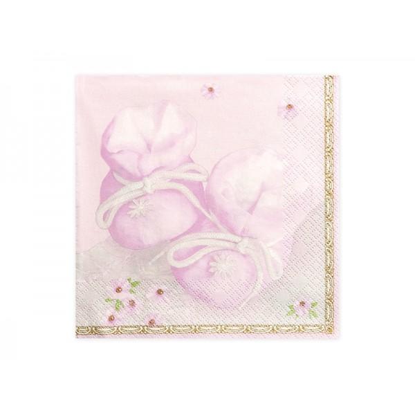 Serwetki papierowe Buciki różowe 33x33cm 20szt