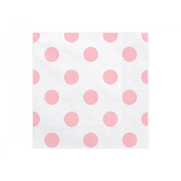 Serwetki papierowe Kropki różowe 33x33cm 20szt