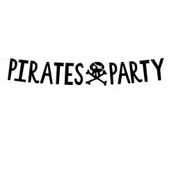 Baner Piraci - Pirates Party czarny 14x100cm