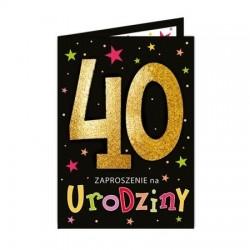 Zaproszenie na 40 urodziny czarne 1szt