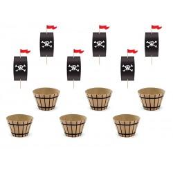 Zestaw do muffinek  Piraci (6szt papilotek + 6szt pików)
