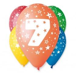 Balony na 7 urodziny 12cali 30cm 5szt