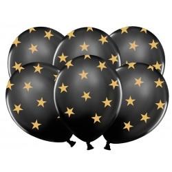 Balony pastelowe czarne w złote gwiazdki 12cali 30cm 5szt Strong