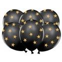 Balony czarne w złote gwiazdki 12cali 30cm 5szt