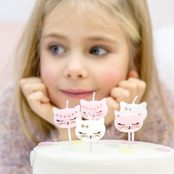 Świeczki Kotek jasnoróżowe 6szt