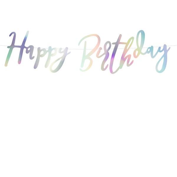 Baner Happy Birthday opalizujący 62cm