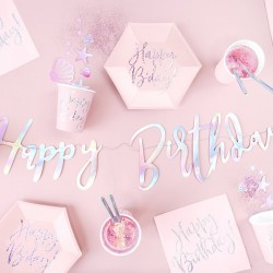 Baner Happy Birthday opalizujący 62cm
