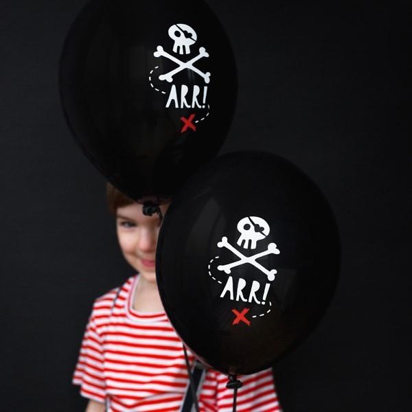Balony pastelowe Piraci czarne 12cali 30cm 6szt Strong