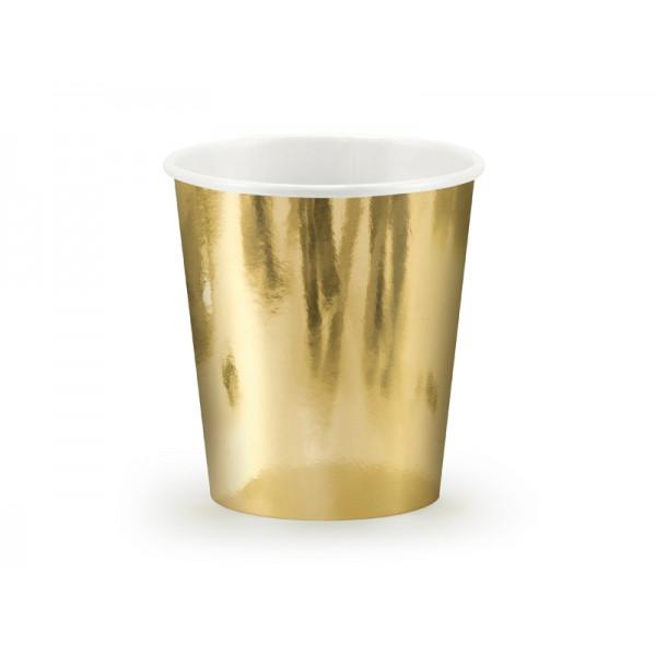 Kubeczki metaliczne złote 180ml 6szt